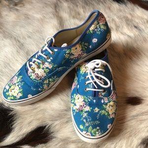 VANS blue floral sneaker tennis shoe 9 men's 7.5